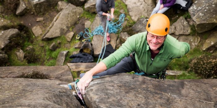 Mynydd member Richard W climbing at Froggatt Edge at the TUPTO 2018