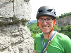 Picture of Treasurer James happy to be climbing on limestone