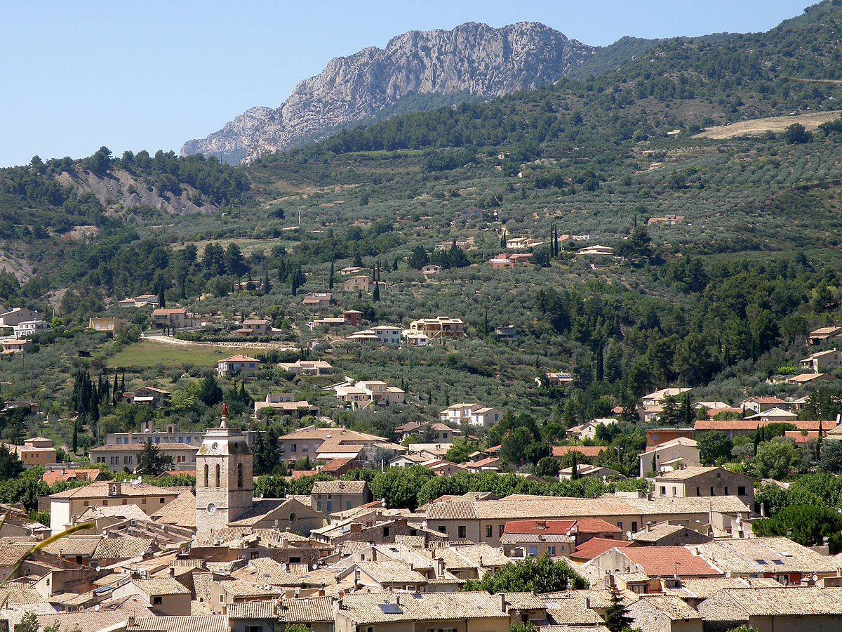 View over the town of Buis-les-Baronnies, Haute Provence, to distant crags